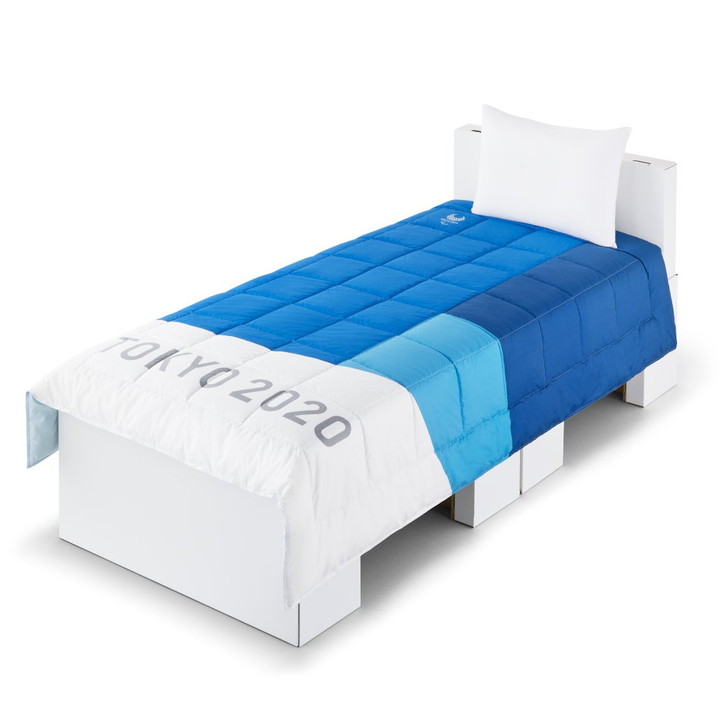 """Box beds: Tokyo2020 reveals athletes' bed designs at the Olympic Village - made from """"high resistance lightweight cardboard"""". Completely recyclable post-Games. 18,000 of them. Not sure if the pillow is cardboard too.#Olympics #Tokyo2020 #blanketcoverage @Tokyo2020"""