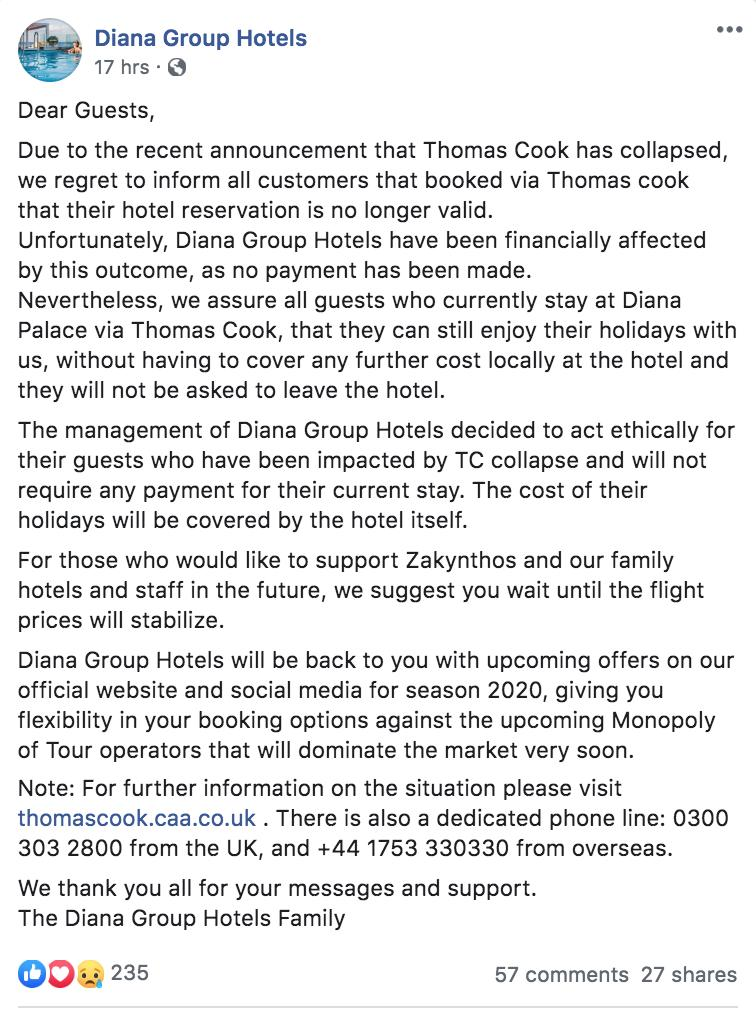 #ThomasCook whilst some hoteliers are trying to protect their income pioneers @dianahotels in #Zante #Greece lead the way of hospitality - @BBCWorld @BBCNews say: 'Everyone has been kicked out of their rooms' https://t.co/B9UQ4bMemc https://t.co/8hU86iRO6O
