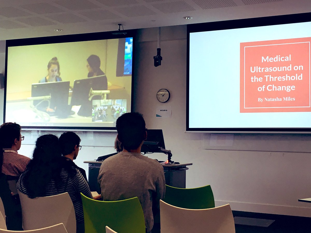 Natasha Miles, 4th year student @MonashUni, presents her research on Medical Ultrasound which starts #ICUR19 session theme 'Medicine and Biochemistry' with @warwickuni undergraduates @ICURstudents