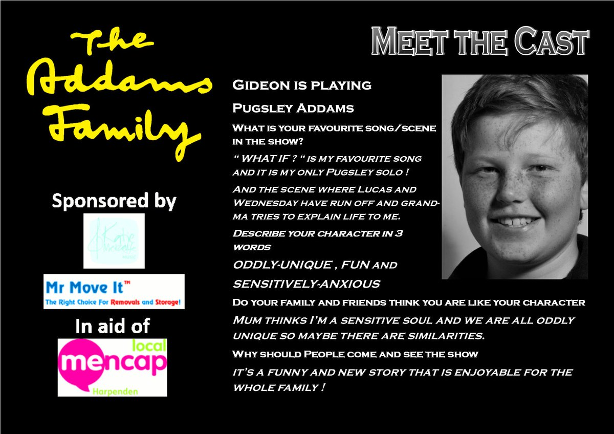 Today we are meeting the youngest member of The Addams Family cast - Pugsley, played by the lovely Gideon 😃👻🖤🧟‍♂️  8-12th October 2019 at the @HarpendenHalls  @HarpendenMencap   https://t.co/LI9pXXX4O8  #hmtctheaddamsfamily #whenyouranaddams #meettheaddams #supportlocaltheatre https://t.co/UW3RPFg7yV