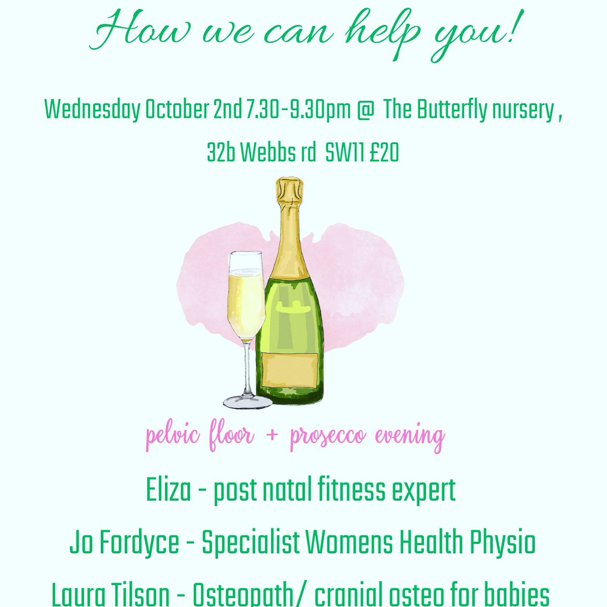 Don't miss your free goodie bag worth £25 and bottomless Prosecco - an evening of laughs and no leaks #holisticorerestore #everywoman #nopads #runningmums #babies #clapham #webbsroad #mumsinlondon #pensionerspic.twitter.com/7ukxHgSkfK