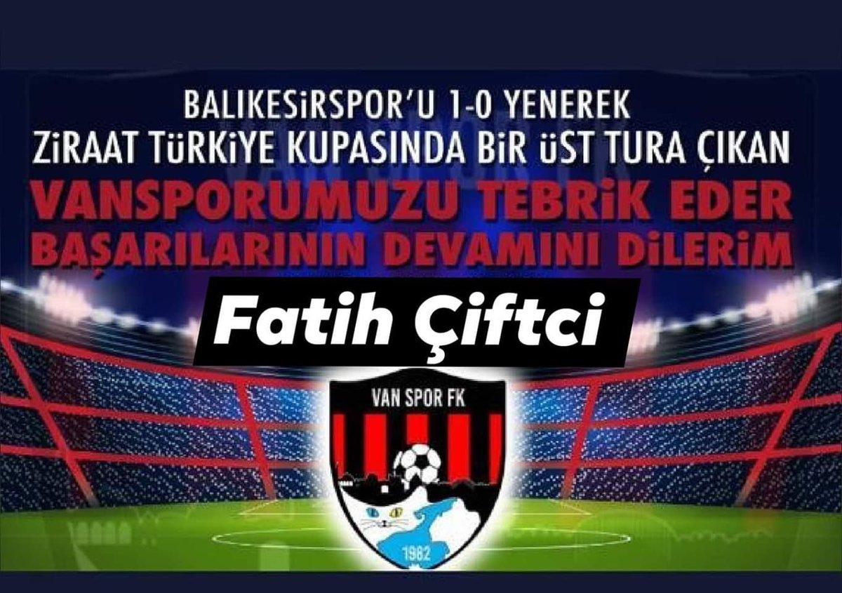 Balıkesiru 1-0 yenerek Ziraat Türkiye kupasında bir üst tura çıkan Vansporumuzu tebrik eder başarılarının  devamını dilerim