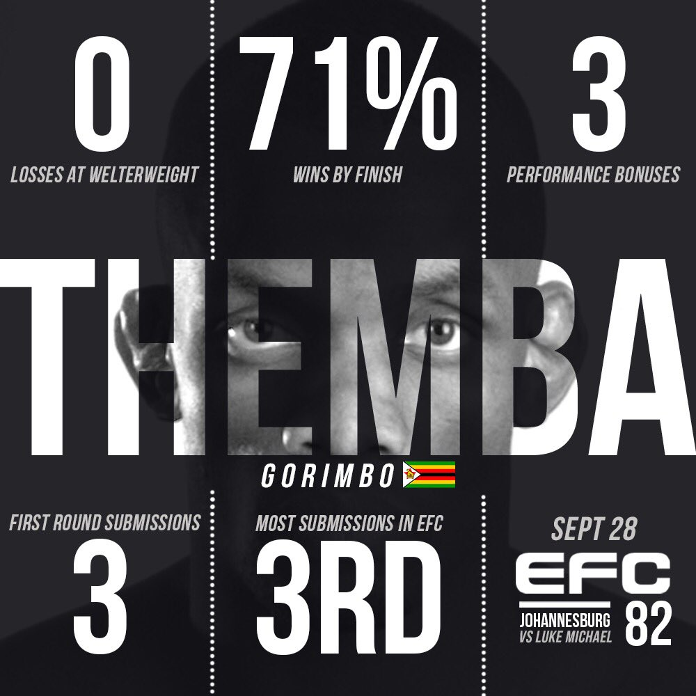 3️⃣ MORE DAYS! #EFC82 🇿🇼 Themba Gorimbo faces former teammate 🇿🇦 Luke Michael for the EFC welterweight championship this Saturday!