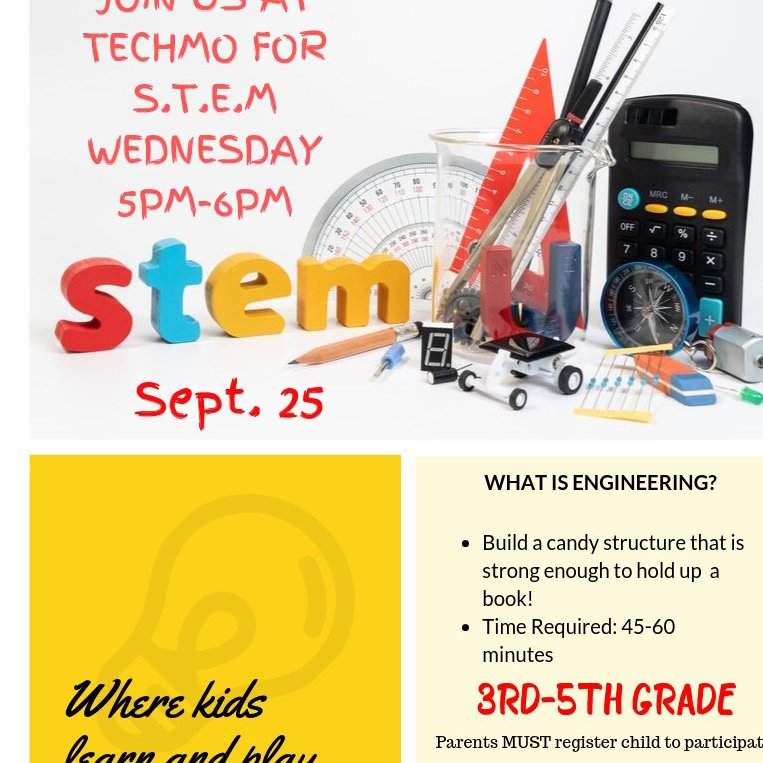 S.T.E.M Wednesday's TODAY!! Join us at TechMO Learning Center from 5pm-6pm.   #stemeducation #stemshow #robotics #summerville #techmo#science #technology #engineer #art #math #techmolearning  #teencenter #afterschoolcenter #stemwednesday #volunteer #teenleaders #youthmentorspic.twitter.com/DvLg5VAACS