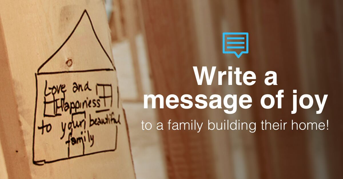 Want to share a message of hope with a family building their Habitat home? It's as easy as 1-2-3: 1️⃣ Share your message! 2️⃣ We'll write it on the joists of an upcoming build! 3️⃣ Your words will live on forever! give.habitat.org/jax-joy