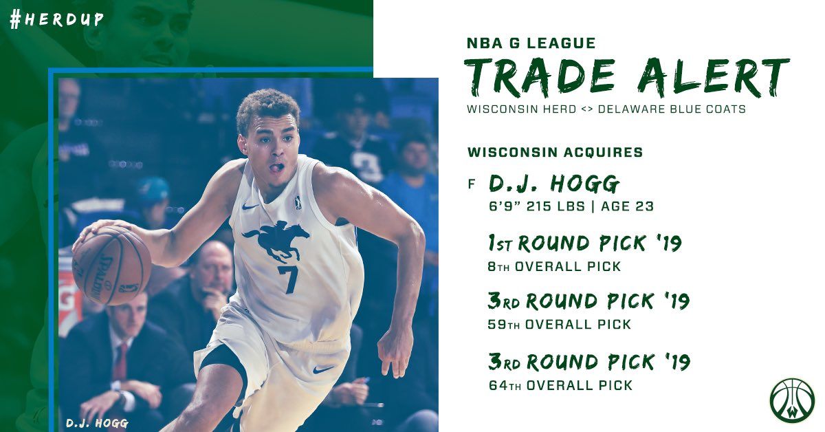 OFFICIAL: The Herd acquires returning rights to @AggieMBK alum D.J. Hogg and the 8th, 59th and 64th selections in the 2019 @NBAGLeague Draft.  Details → https://on.nba.com/2lIUrLi
