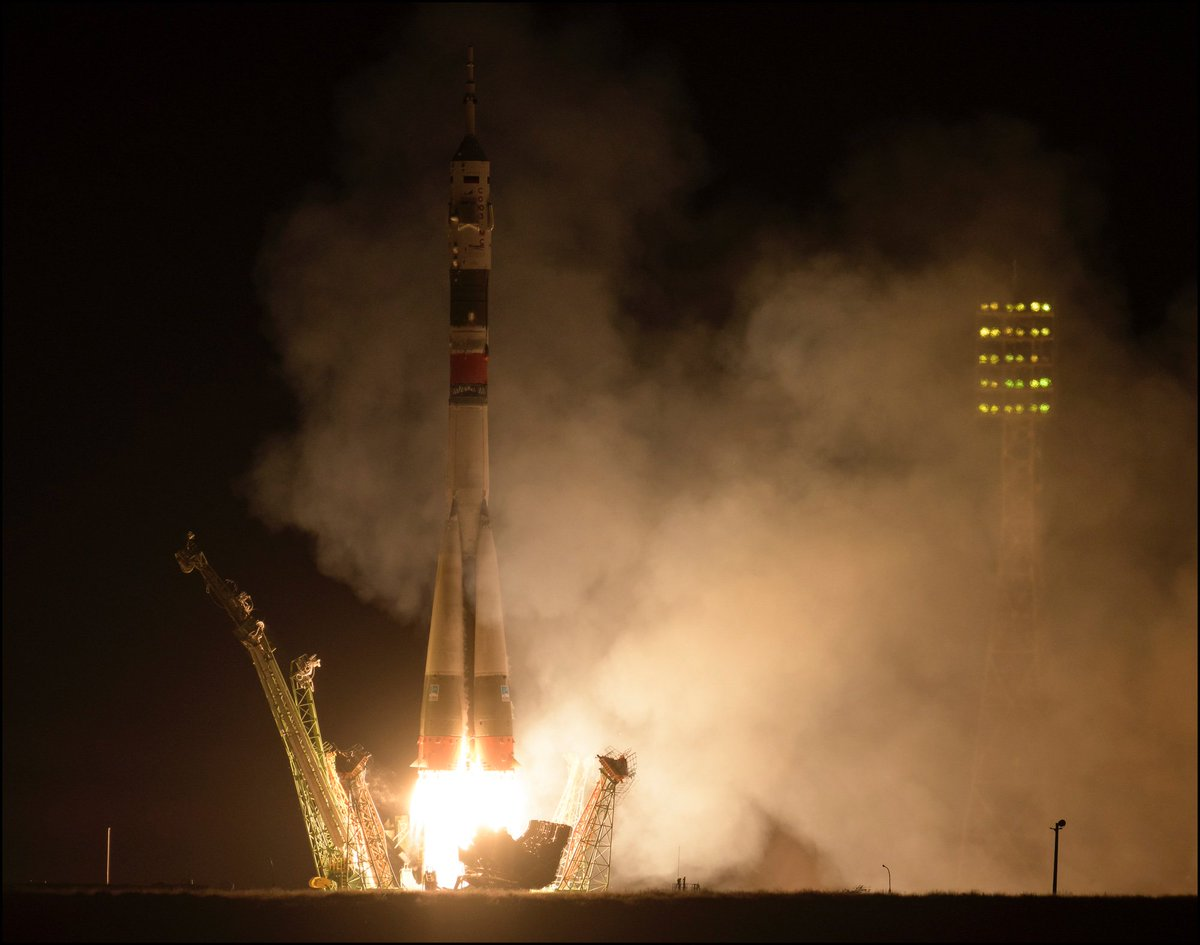 LIFTOFF! Expedition 61 crewmembers @Astro_Jessica, cosmonaut Oleg Skripochka, and spaceflight participant @astro_hazzaa are on their way to @Space_Station! 🚀📸: flic.kr/s/aHsmHcBbyZ