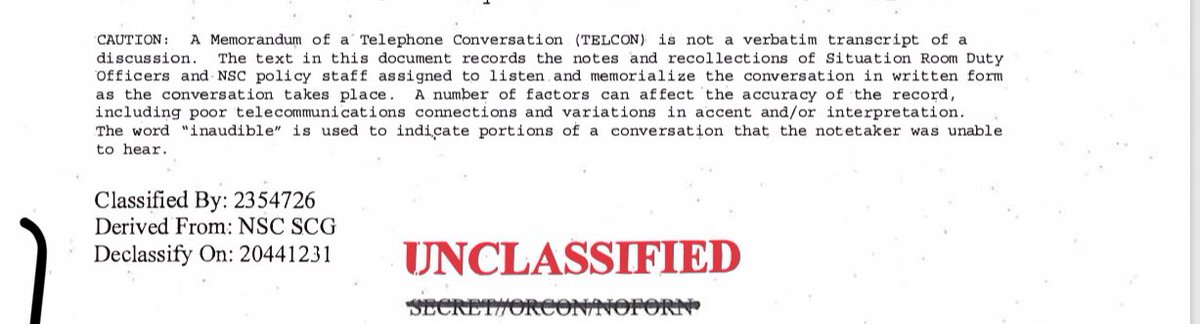 "Here is the specific explanation of what the call content is and is not. The WH will call it a ""transcript"" but the document is not that complete. That is not how these records are preserved."