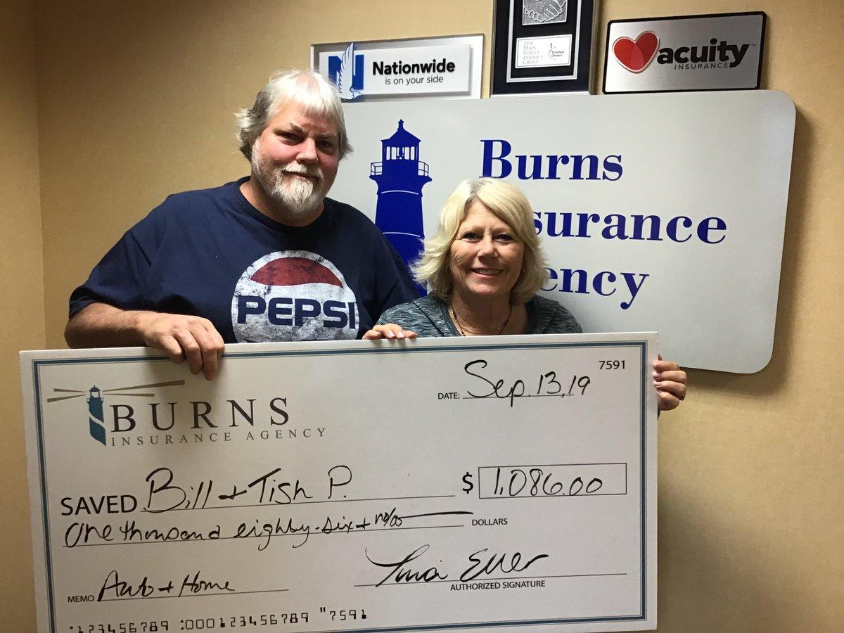 While Bill was away, Tina saved Bill and Tish a ton of money! Hooray! . . #savingmoney #insurance #insuranceagent #bigcheck #oakdalemn #burnsinsurance pic.twitter.com/FUjzqZJwce