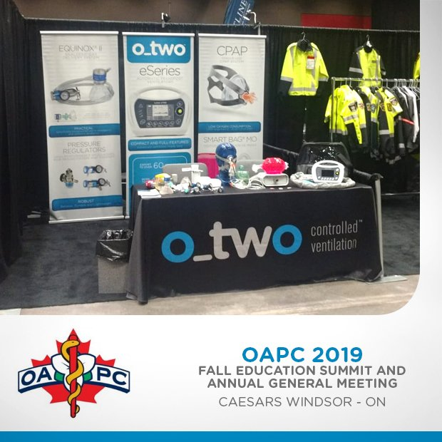O-Two Medical is present at @OAPCMedia. Helton Santos is representing the company at the event, that takes place at Caesars Windsor, Canada, from September 24th to 26th, 2018. Stop by our vendor Booth. #oapc2019