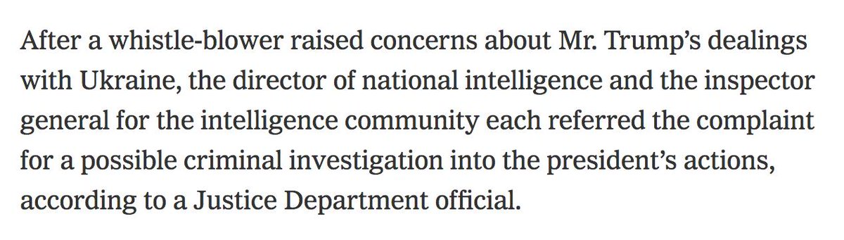 Wait am I reading this wrong or does it mean DAN COATS referred the president to the Justice Department for possible criminal investigation? nytimes.com/2019/09/25/us/…
