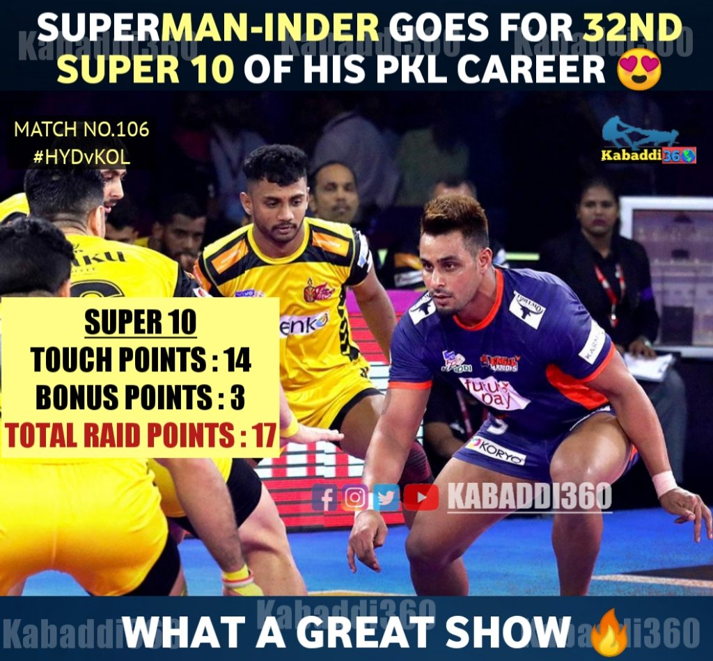 Skipper Maninder Singh's 4th consecutive & overall 9th Super 10 of PKL 7 helped @BengalWarriors to beat Telugu Titans in a neck to neck contest 😍  #ManinderSingh  #Super10  #vivoprokabaddi  #IsseTouchKuchNahi  #PKLwithKabaddi360