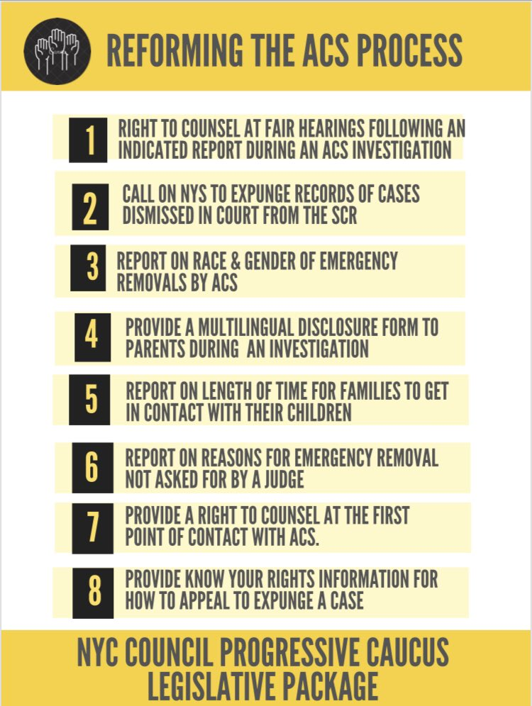 New bills introduced today: Along with my colleagues in the @NYCProgressives, we introduced 12 new bills, for a total package of 15 to improve parental rights and support in the child welfare process.