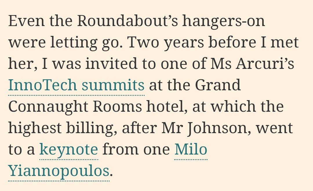 ... and when Alexander Carlile is not serving as Boris Johnsons support act at Jennifer Arcuris InnoTech summit, his role is eagerly assumed by Bannons willing far-right helper Milo Yiannopoulos. twitter.com/ciabaudo/statu…