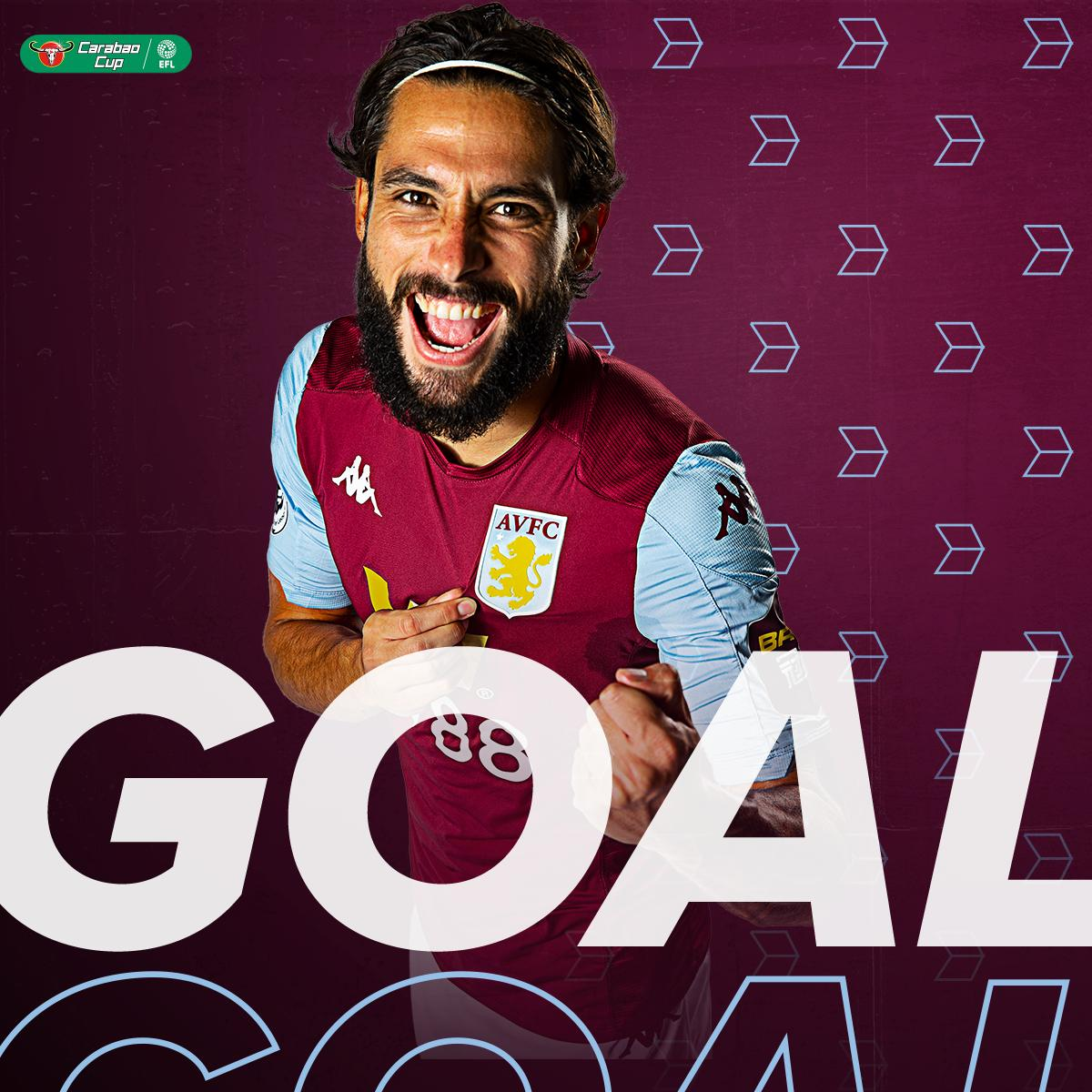 GOOALL!  Villa get their breakthrough. The ball spills out to @KingJota, who blasts home on the half volley!  ⚪️🔵 0-1 🦁  #AVFC #CarabaoCup https://t.co/0zYQb5UtsD