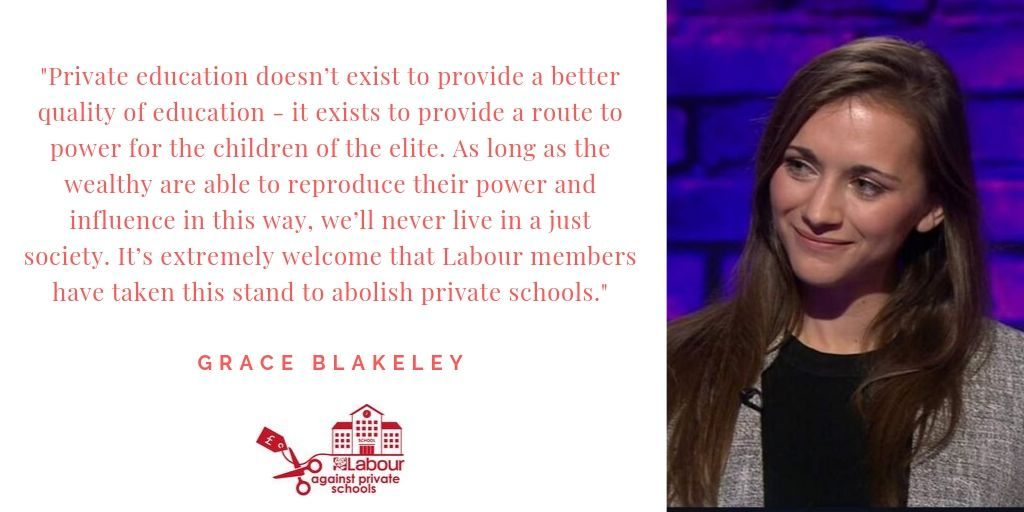 """""""Private education doesn't exist to provide a better quality of education - it exists to provide a route to power for the children of the elite...It's extremely welcome that Labour members have taken this stand to abolish private schools."""" @graceblakeley https://t.co/ysmYRt6y6Q"""