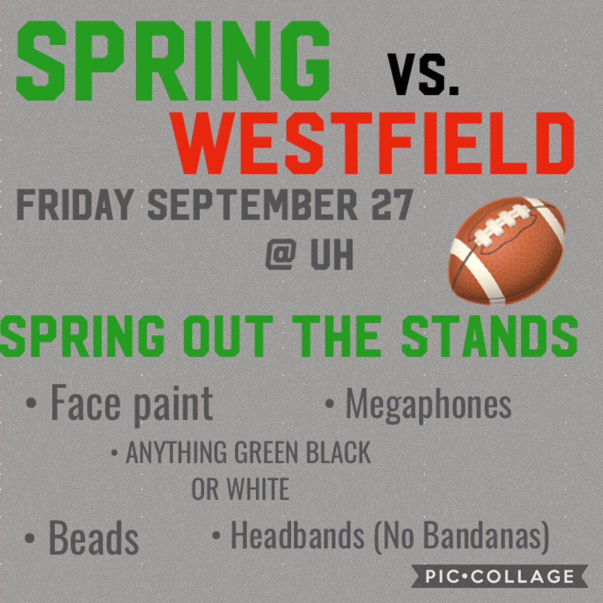 Friday Spring vs. Westfield ! We're going to spring out the school and the stands friday ! Make sure you have your spirit gear and support our lions football team !! 🦁🏈💚 #shs #classof2020 #mbybob #springfootball https://t.co/26U4hRKcLB
