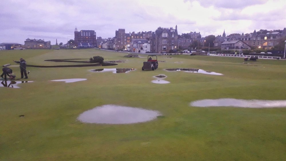Good morning from a wet St Andrews #DunhillLinks