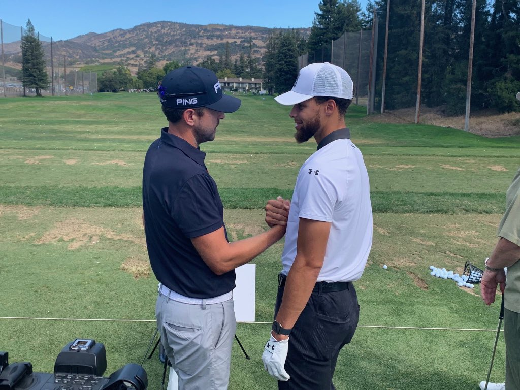 Full circle moment right here with @scottyglf. We connected over the phone last year while he supported his wife @jharrington81 and her courageous Battle with cancer. Finally got to meet in person today and the bond was real! All the best and good luck on the tour this year 🙏🏽💪🏽