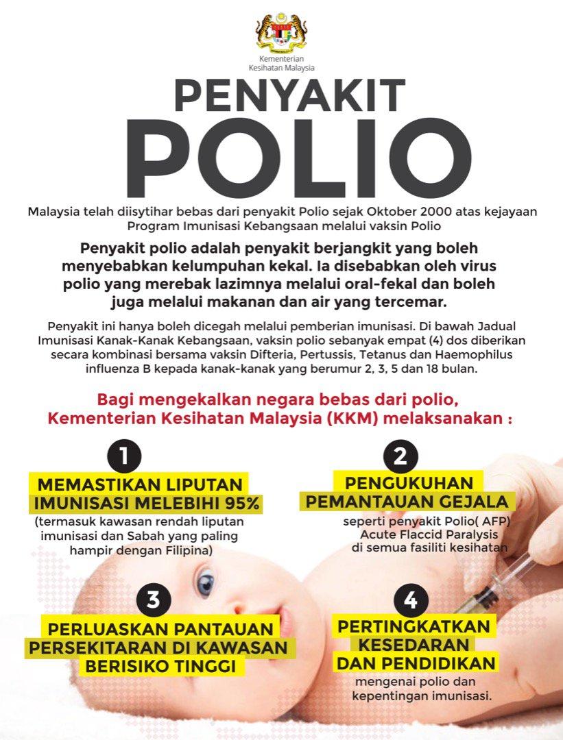 Infografik tentang polio dari pihak KKM