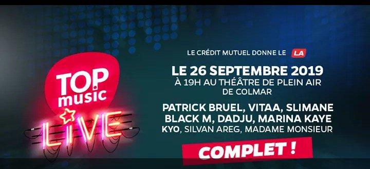 Ce soir #TopMusicLive à #Colmar avec #PatrickBruel -  #Vitaa - #Slimane - #MadameMonsieur - #KYO - #Dadju - #MarinaKaye - #SilvanAreg - #BlackM   Plus d'infos @TopmusicAlsace  sur mon site #MesRendezVous :  https://mesrendezvous.org/2019/08/21/top-music-live-colmar-septembre-2019/…pic.twitter.com/ok218k4EWg