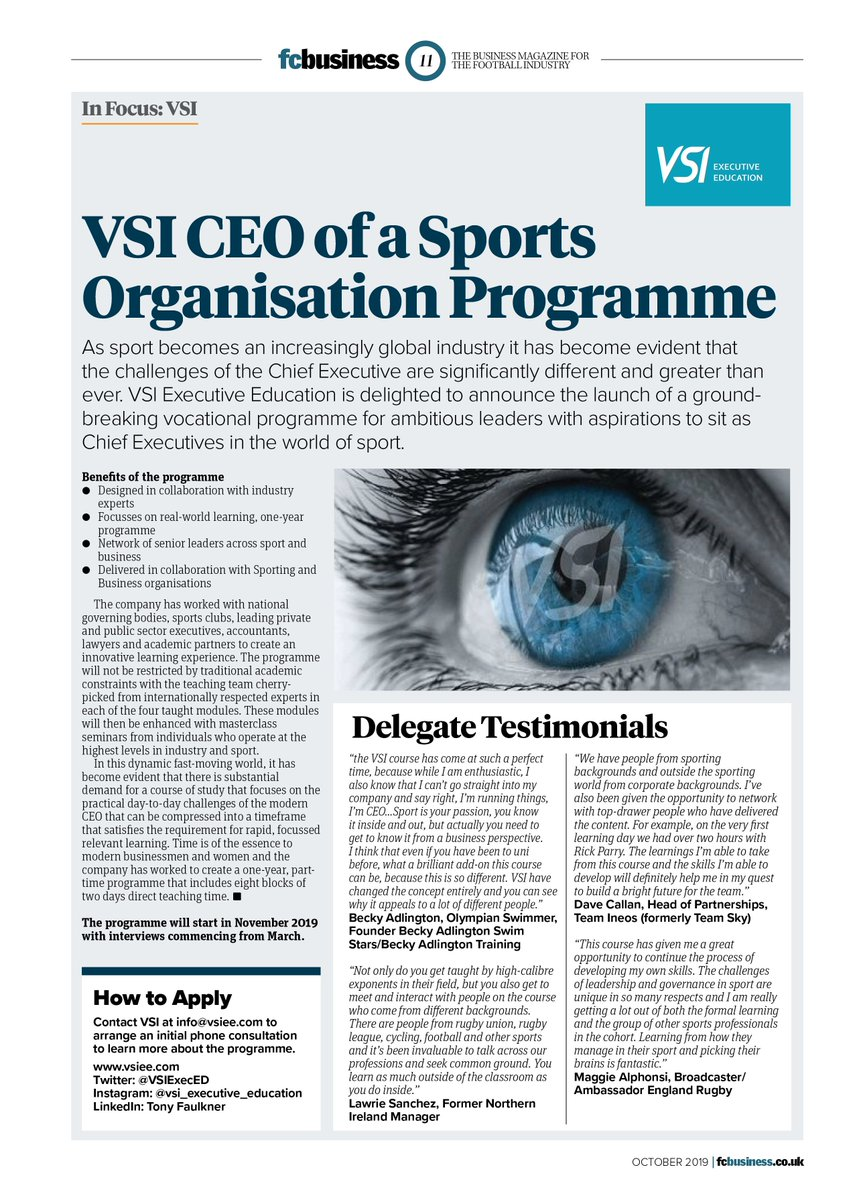 .@VSIExecEd the pioneers of the Sporting Directors programme start their CEO of a Sports Organisation programme in November. Read all about it on page 11 ➡ bit.ly/fcbusiness120