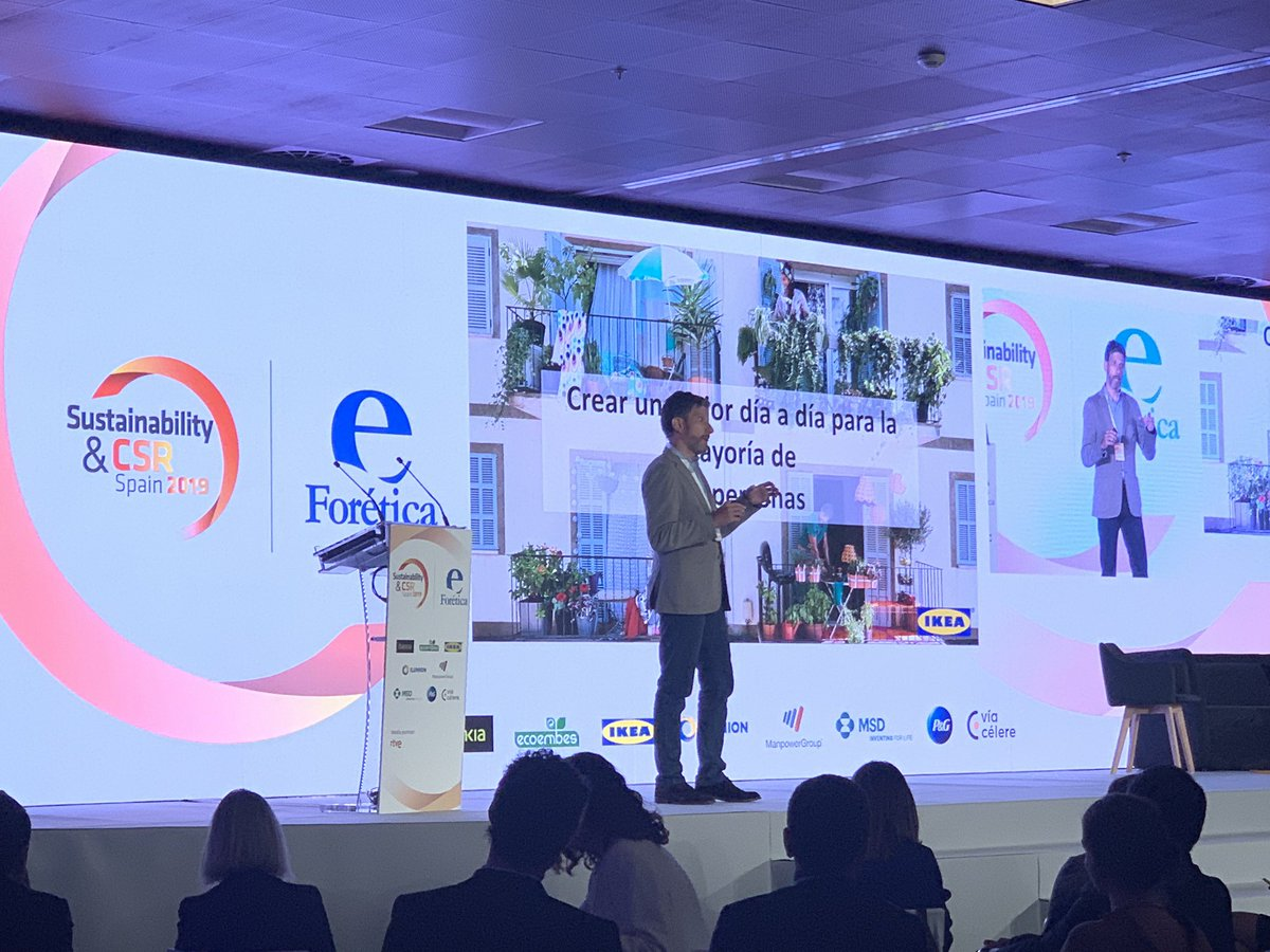 .@arturog1969 Director de Responsabilidad Social Corporativa, @IKEAspain nos habla de #MovilidadSostenible #SustainabilityCSRSpain2019 https://t.co/cVbGlOaUOc