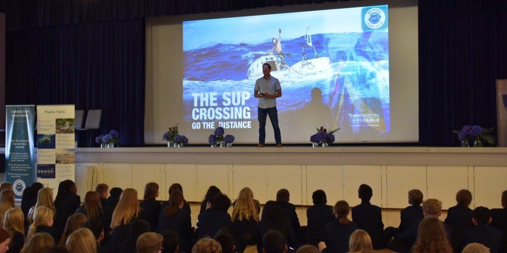 @chris_bertish completed the first solo stand up paddle board crossing of the Atlantic. This week he inspired @SCDSchool students to do more, be better and live the best life possible while giving back and leaving a positive impact on the world. https://t.co/UMrsMM4gcq https://t.co/3H4exwyTra