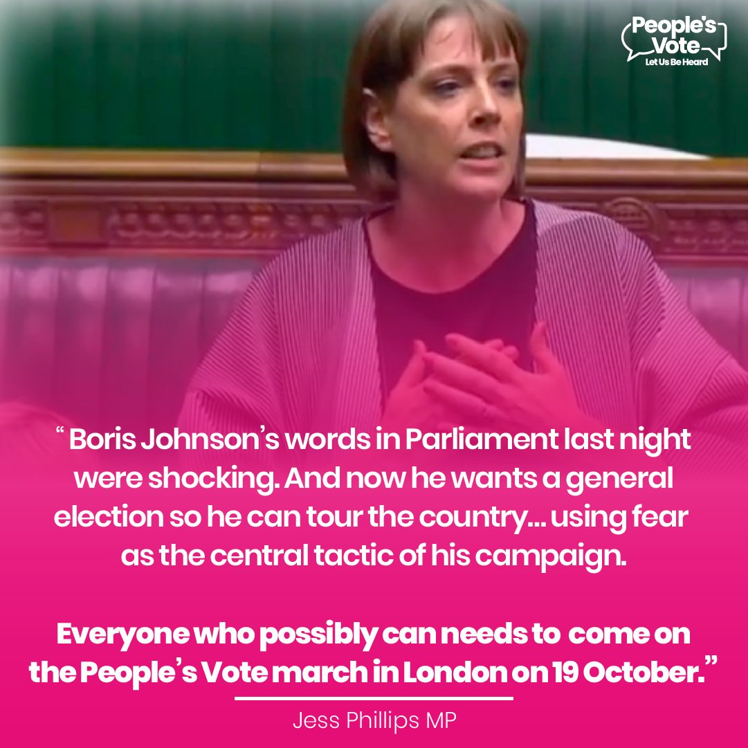 If Johnson wants to 'get Brexit done' then he has to go back to the people with a clear offer and put that to a confirmatory referendum where we can settle the question of Brexit - @jessphillips If you agree, march with us in London on October 19th: letusbeheard.uk