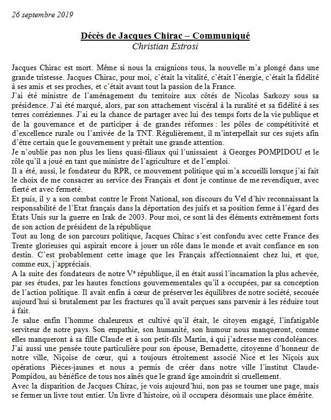 Christian Estrosi On Twitter Jacques Chirac Est Mort Je