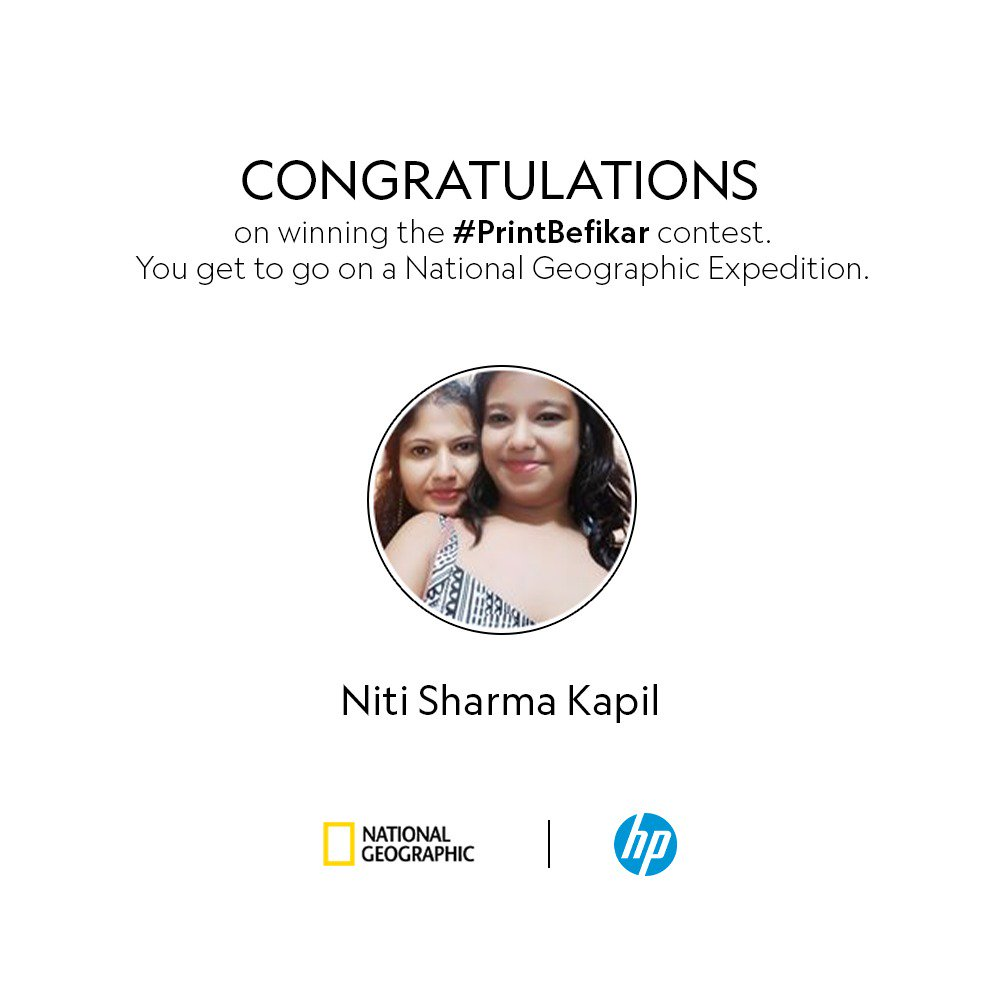 Congratulations, Niti Sharma Kapil on winning the PrintBefikar contest We hope you enjoy your Nat Geo Expedition https ...