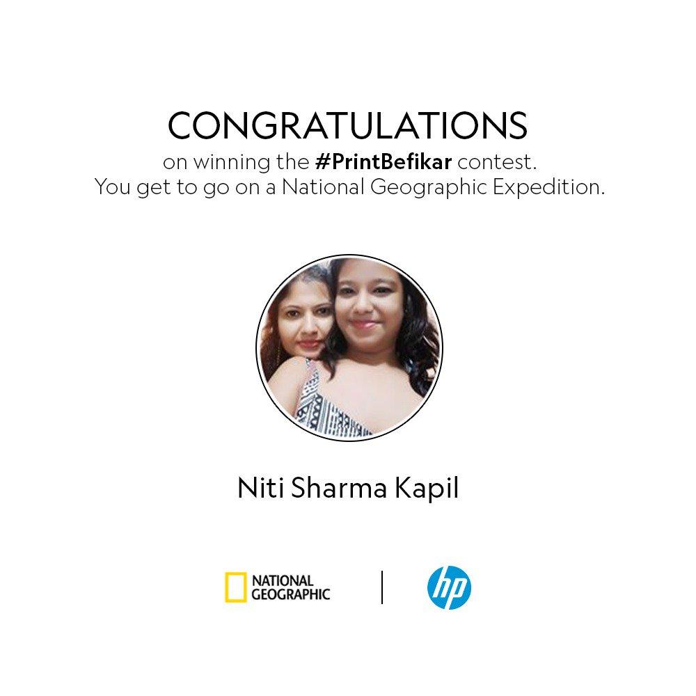 Congratulations, Niti Sharma Kapil on winning the PrintBefikar contest We hope you enjoy your Nat Geo Expedition https ...
