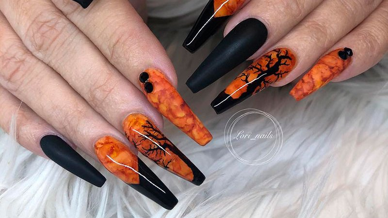 Cute Halloween acrylic nails coffin shaped design in 2019