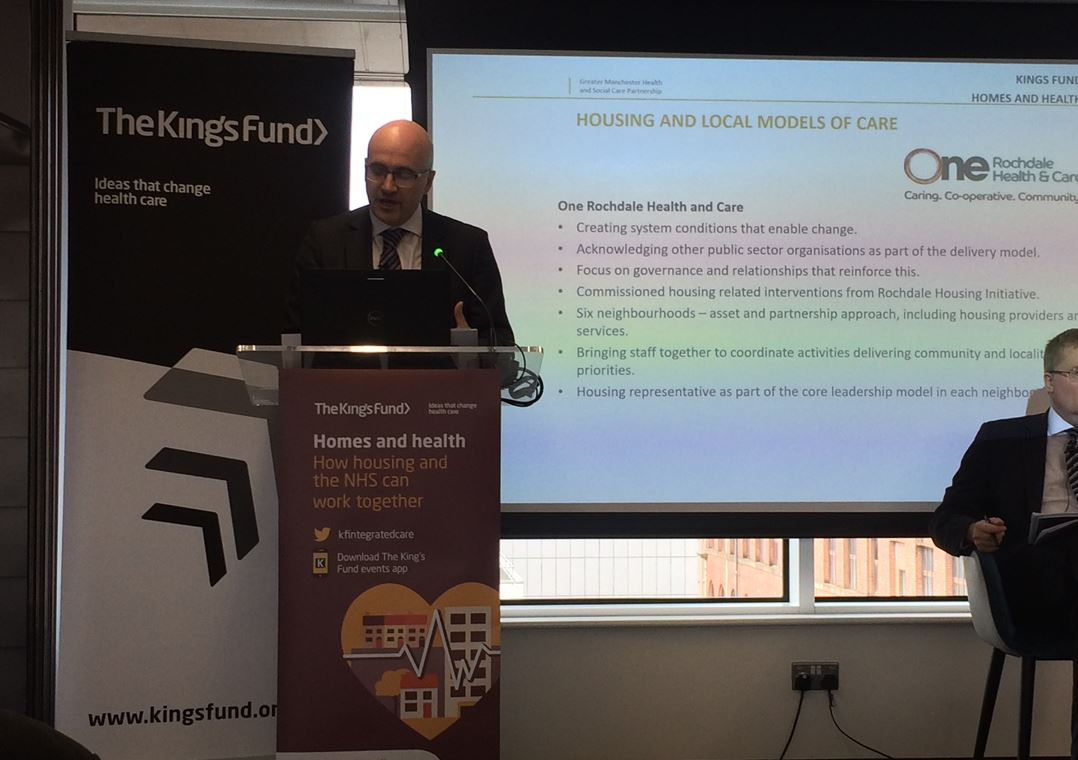 Very thought-provoking start to today's @TheKingsFund Homes and Health Conference in Manchester from Jon Rouse, Chief Officer Greater Manchester Health and Social Care Partnership. 'Housing, health and care' ALWAYS in the same breath.   #KFintegratedcare #HomesHealthandCare