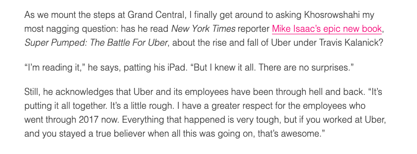 Got the Uber CEO to say hes reading @MikeIsaac's Uber book. My work here is done. theverge.com/2019/9/26/2088…