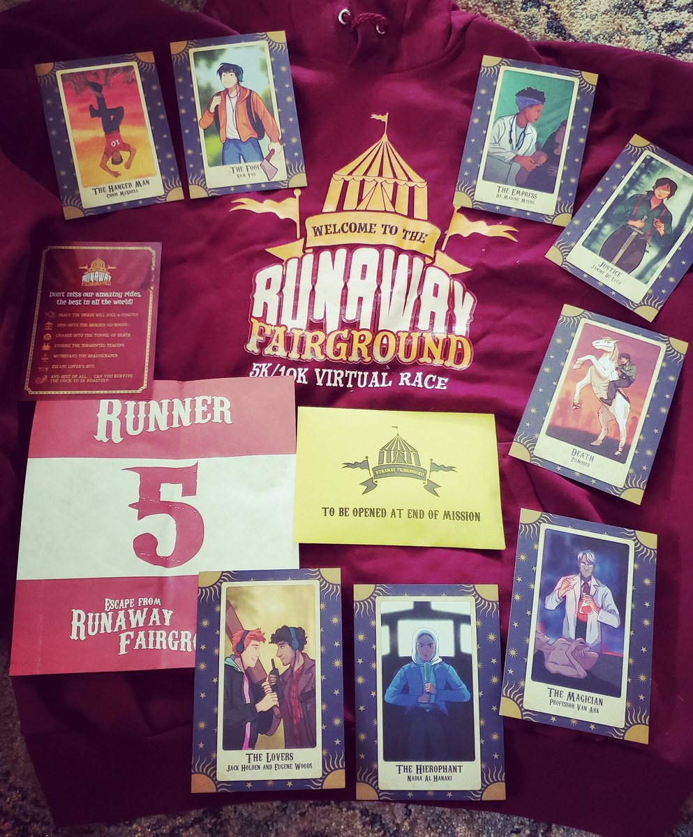 Recieved my @ZombiesRunGame race pack today (I've already been wearing the hell out of the hoodie). The #tarotcards look amazing, I love Sam as the Fool. Can't wait to do these missions! #zombiesrun #zombiesrunvirtualrace #5am #iamrunner5pic.twitter.com/AOrj9q05XT