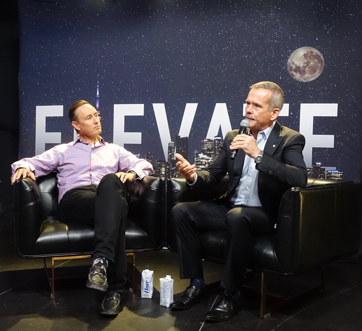 Hadfield interviewed me after his keynote, and the moon is his thought bubble. We covered a panoply of modern moon shots, from meat manufacturing without the animals to machine learning and sentient superintelligence. P.S. His iconic SpaceX image will get an update on Saturday