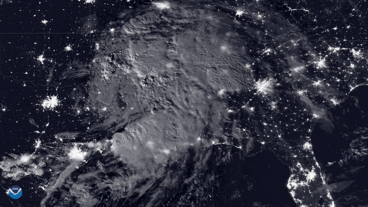 The #NOAA20 and #SuomiNPP satellites gather data about tropical cyclones, such our Day-Night Band imagery (example below of Tropical Storm Barry) that shows the cyclone's movements overnight. This data can be used for forecasting. #Datapalooza<br>http://pic.twitter.com/myP5Y5IJaE