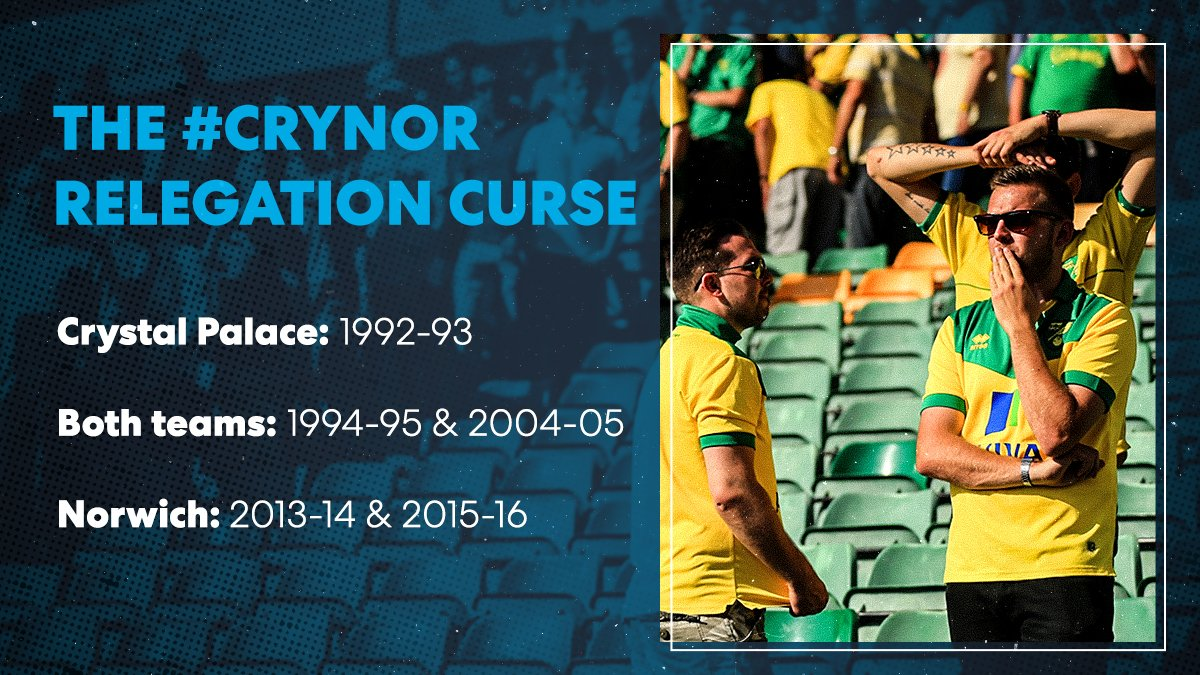 In each #PL season that @CPFC and @NorwichCityFC have met, at least one side has gone on to be relegated 😳 How will both teams fare this season? #CRYNOR