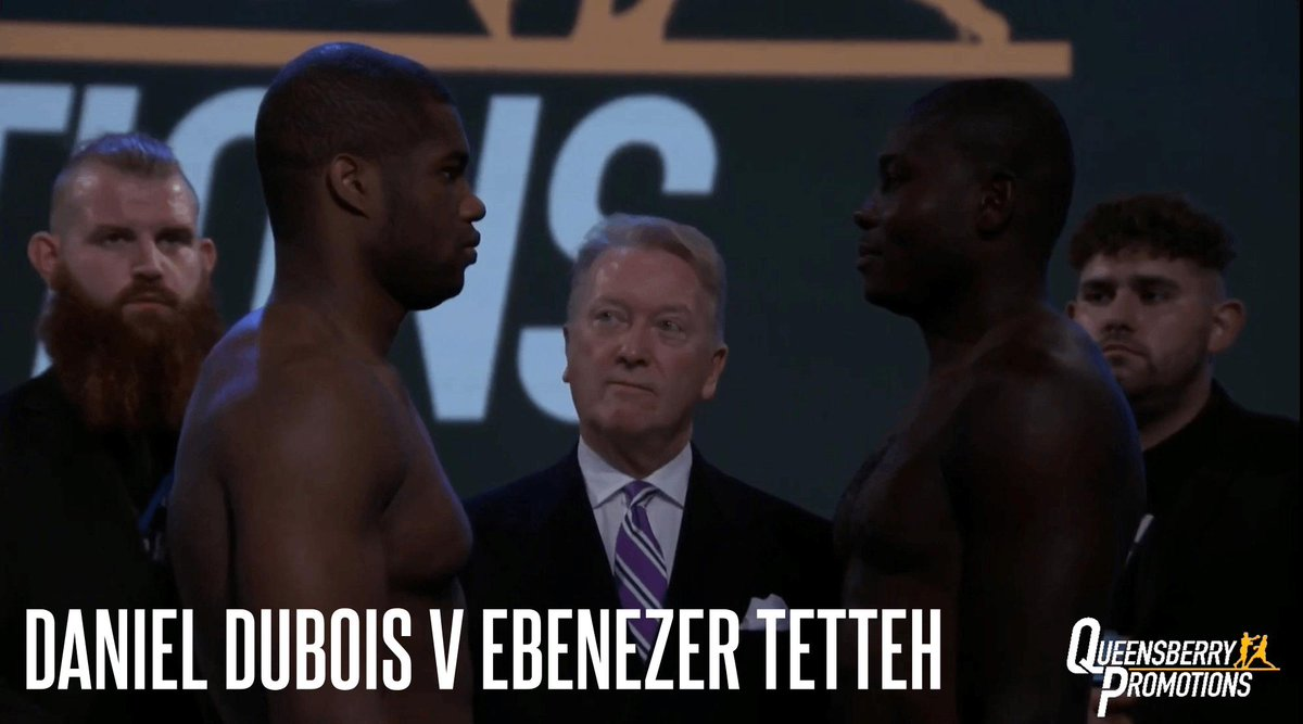 🏆 FUTURE WORLD CHAMPION 🏆 @DynamiteDubois - 17st 2lbs Ebenezer Tetteh - 15st 7lbs Daniel Dubois and Ebenezer Tetteh weigh in and face off ahead of Friday night's Commonwealth Heavyweight Championship clash at the @RoyalAlbertHall 🏟 #EveryBelt