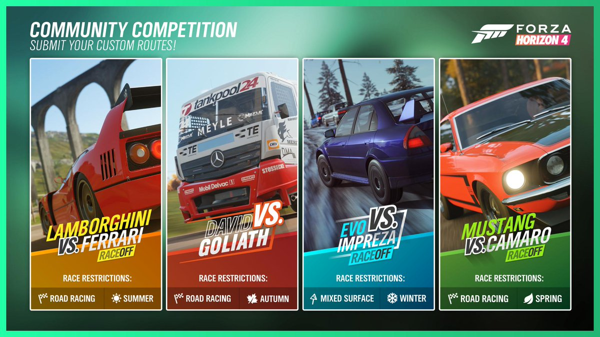 With our new Route Creator features, show off your creativity skills. Produce routes using the requirements to win 5 super wheelspins & the chance to be featured in-game! Reply with: 🗺️ Photo of the route & flyer 🎮 Gamertag 🚗 Event Name 🏁 Start Location 🔍 Share Code (1/2)
