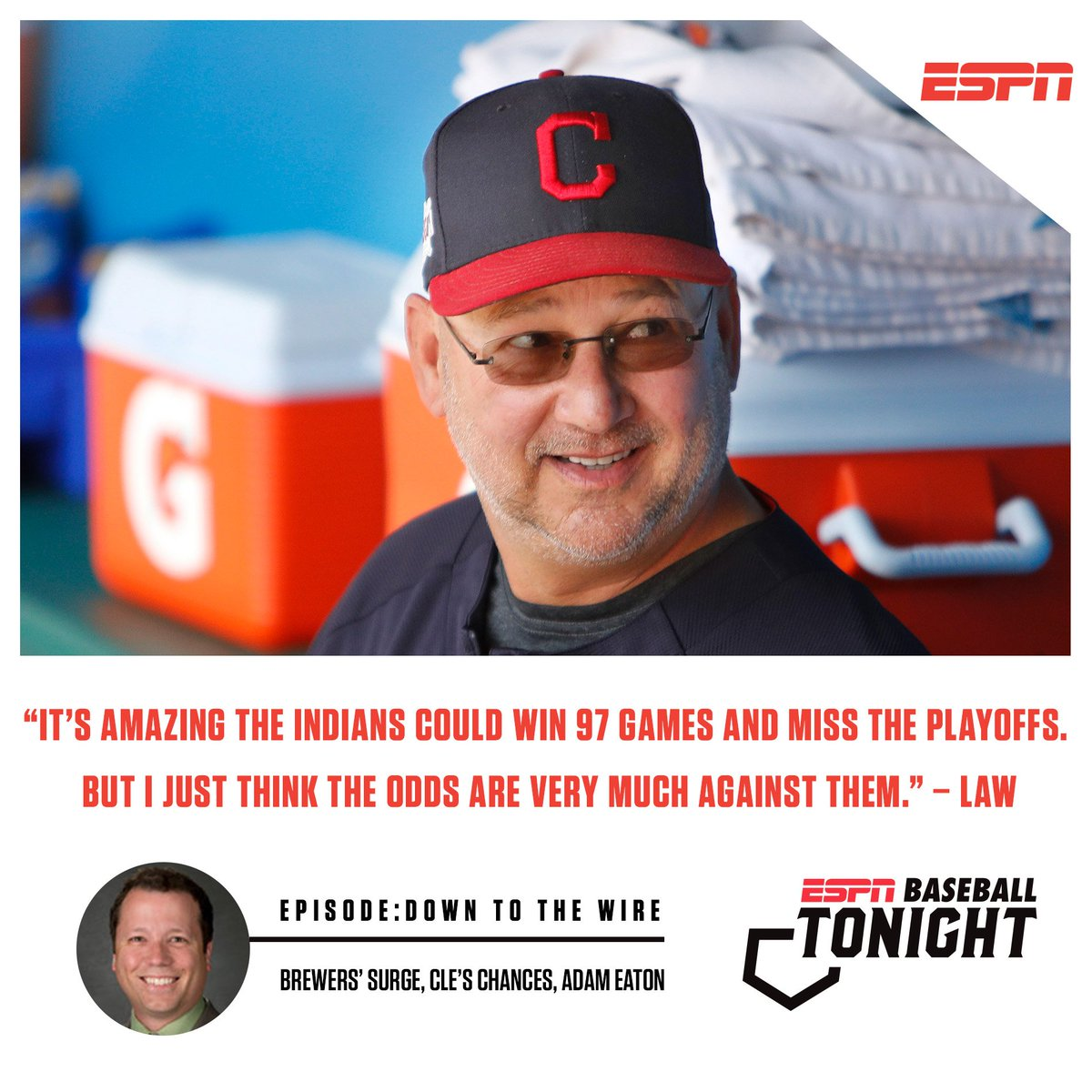 Another day, another Baseball Tonight podcast with @keithlaw and @MandyBell02 weighing in on the Indians playoff hopes. LISTEN: es.pn/2mV0PiV