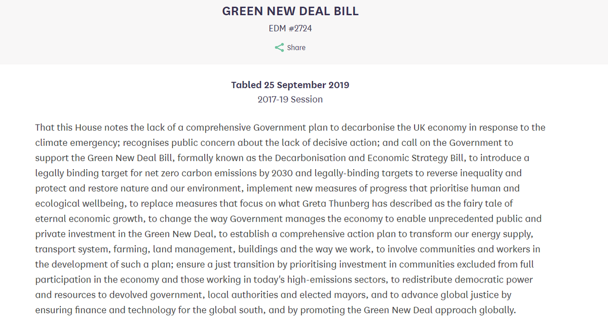 Delighted to have tabled Green New Deal Bill with @labourlewis - the first attempt to legislate for a #GreenNewDeal in UK An economic cure for the triple crisis of climate emergency, inequality & failed finance Ask your MP to sign EDM#2724 in support. We can make it happen!