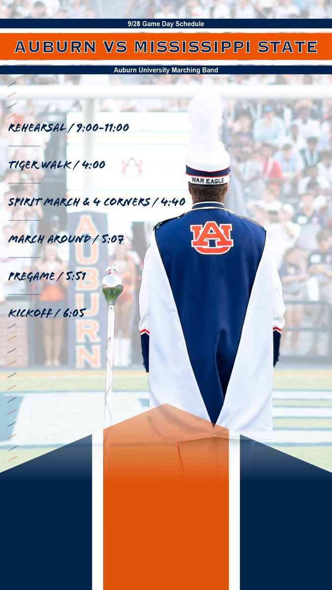 Auburn Bands On Twitter Heres This Saturdays Schedule As