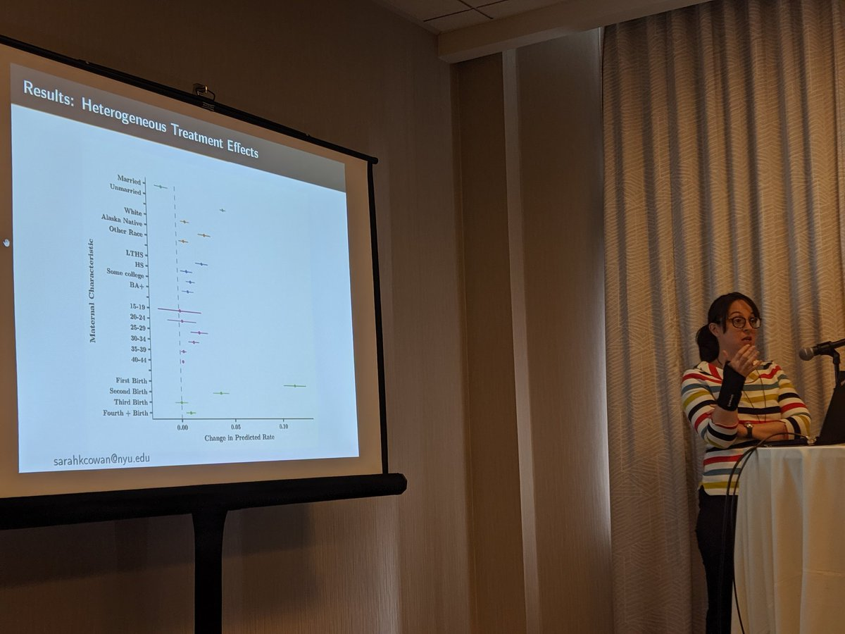 More births among women who receive Alaska universal basic income, moreso among poorer women. Results suggest this is due to change in biological fecundity rather than intention. Super interesting story of biological embedding of #sdoh. Thanks @SarahKCowan! #pophealth2019 @ia4phs<br>http://pic.twitter.com/r5hWJ0Hujh