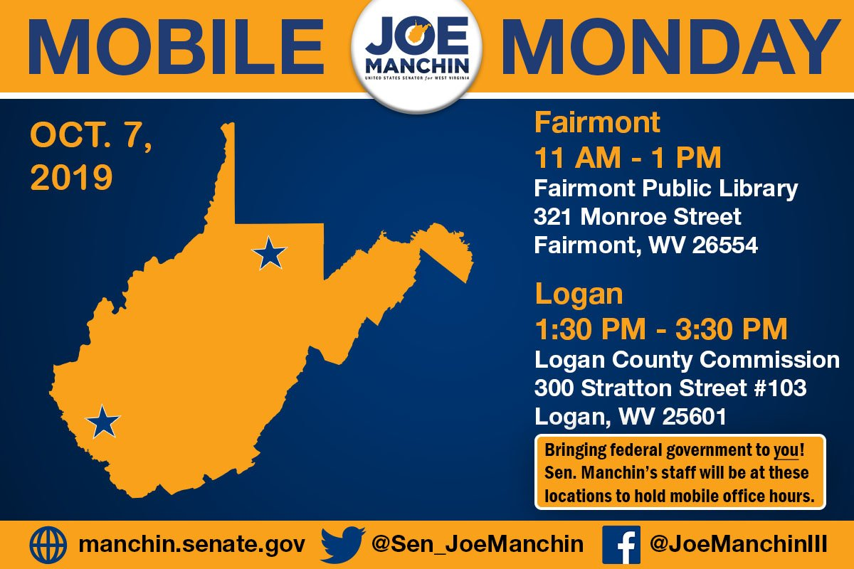 #ManchinMobileMonday is coming up! Come by any of these locations for hands-on help from my staff with federal or state issues - no appointment necessary!