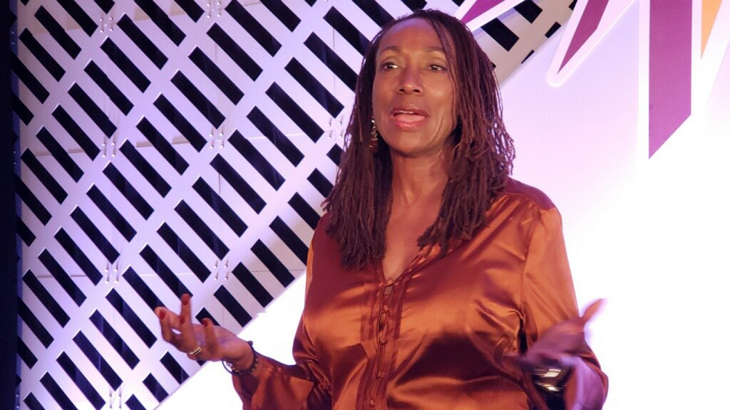 """Retha Hill is closing out the #OCLCLibraryFutures Conference in Phoenix with her keynote session """"Hacking the Future of Libraries."""" 