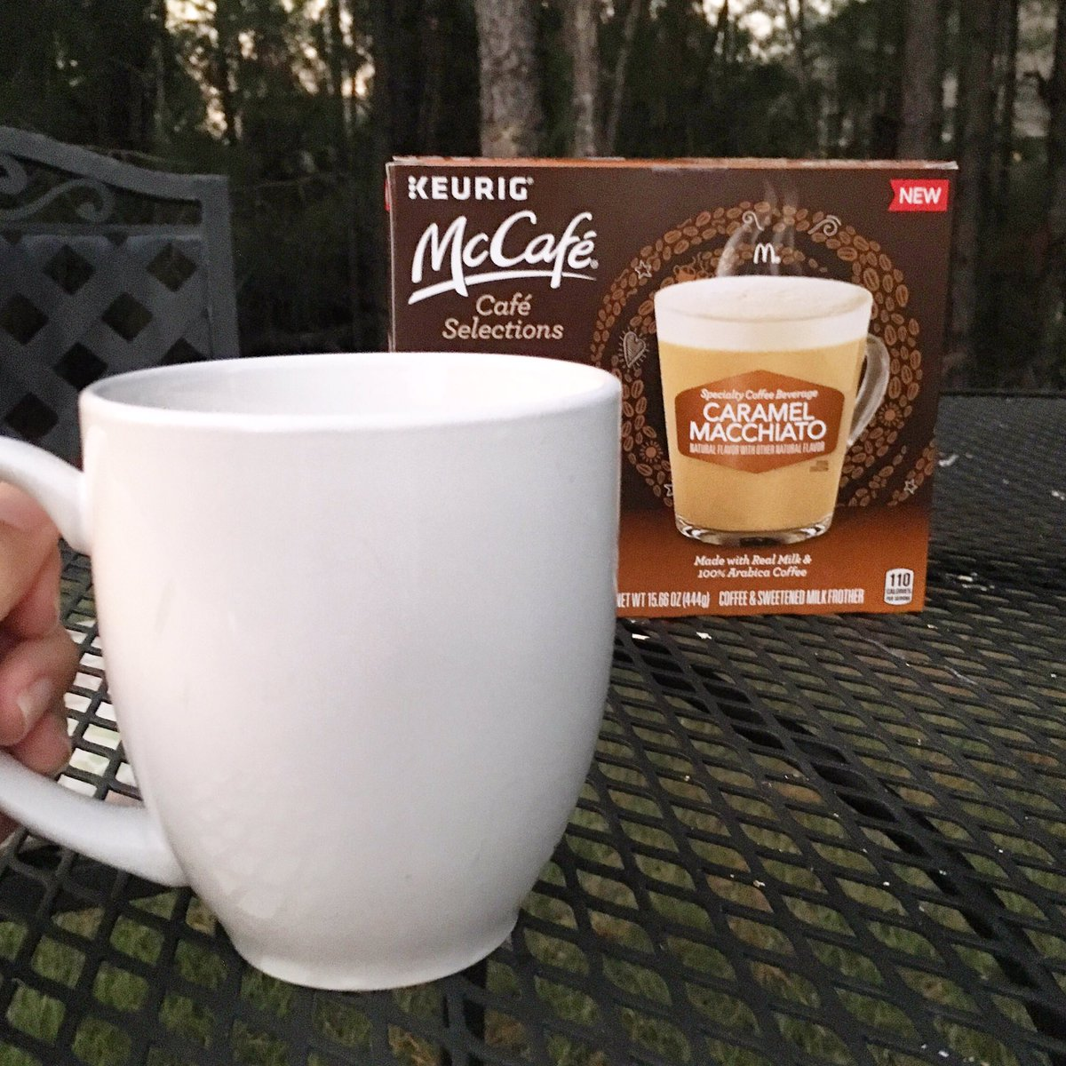 #ad It says fall on the calendar, so head out with a warm beverage.  Mine tonight: McCafe Caramel Macchiato Cafe Selections K-Cups (which I picked up at @Walmart). Because coffeehouse coffee in your backyard sure beats going out for a cup. #SimplyDeliciousAtWalmart @shespeaksup<br>http://pic.twitter.com/pWffaJe0pN