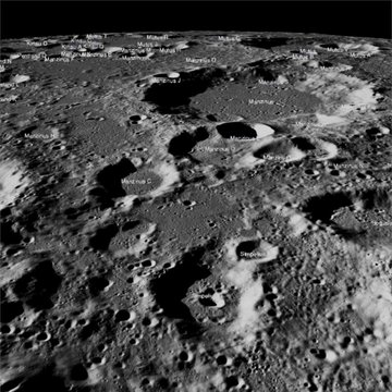 Lunar surface with names of locations