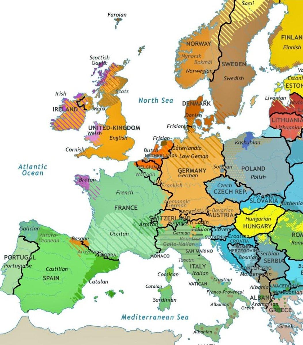 Map Of Europe Ireland.Uk Ireland Languages On Twitter Western Europe